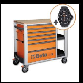 Beta C24SL O Verrijdbare werkbank met zeven laden en zijvak met legborden