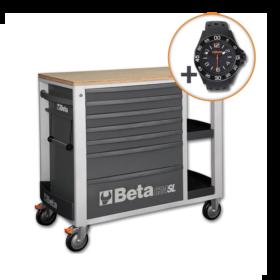 Beta C24SL G Verrijdbare werkbank met zeven laden en zijvak met legborden