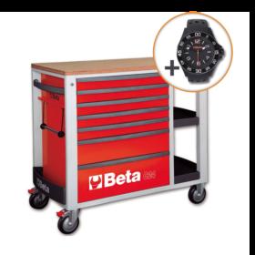 Beta C24SL R Verrijdbare werkbank met zeven laden en zijvak met legborden