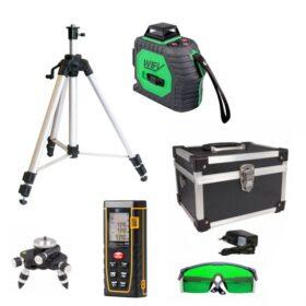 WIFY Kruislijnlaser 3D 360G Groen + Nedo Verstelbaar aluminium statief + WIFY 3080 Laserafstandsmeter 80 mtr